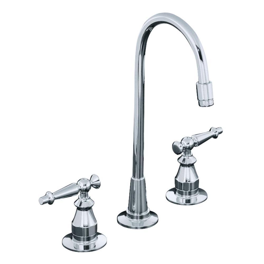KOHLER Antique 2-Handle Bar Faucet in Polished Chrome