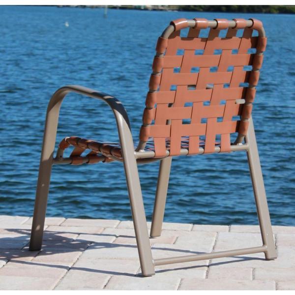 Marco Island Brownstone Commercial Grade Aluminum Patio Dining Chair With Saddle Vinyl Cross Straps 2 Pack 3200cs S S The Home Depot