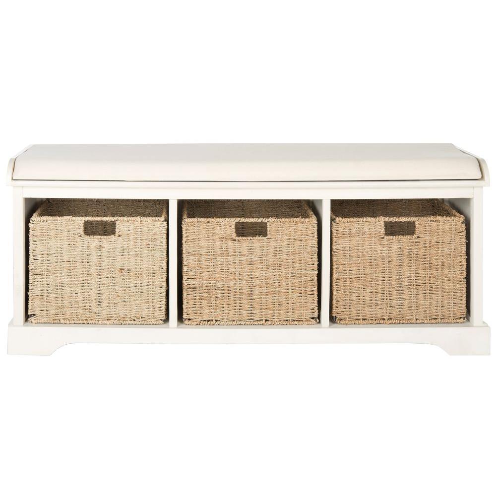 Lonan White Storage Bench