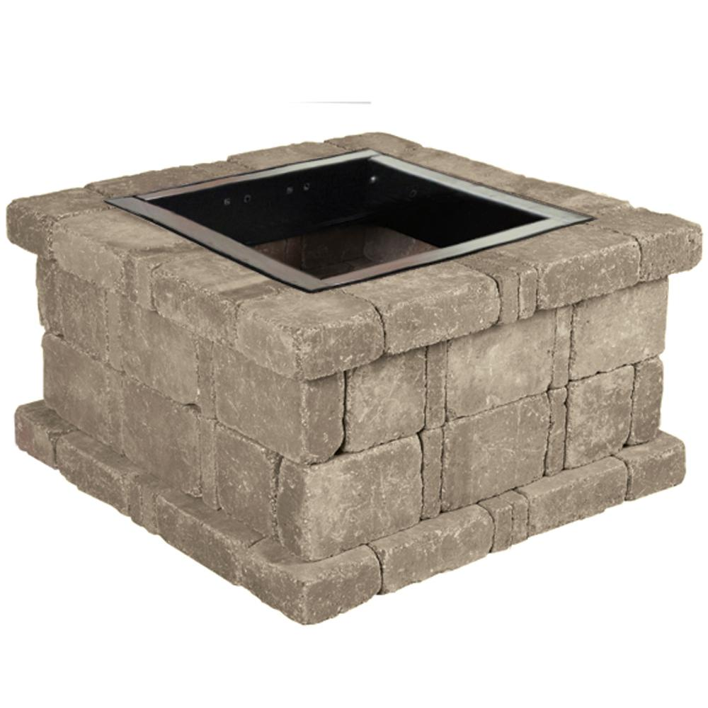 Pavestone RumbleStone 38.5 in. x 21 in. Square Concrete Fire Pit Kit No. 3 in Greystone
