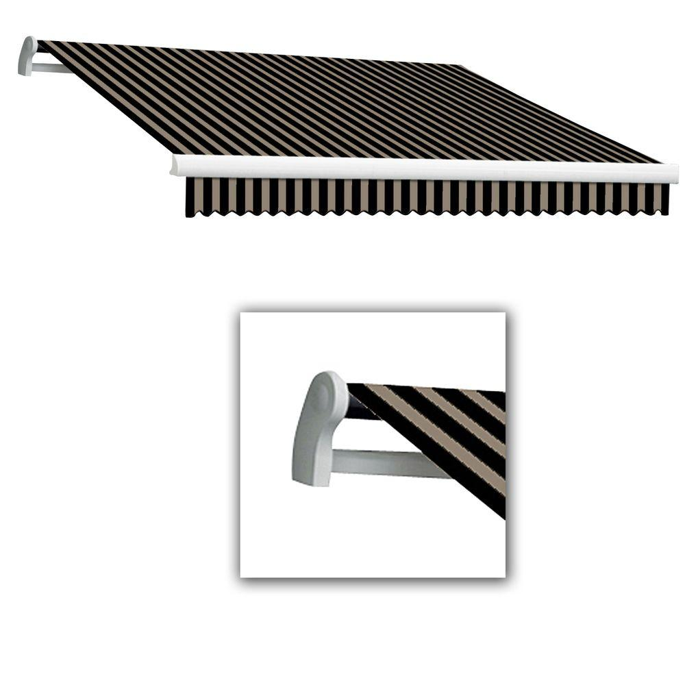 AWNTECH 12 ft. Maui-LX Left Motor Retractable Acrylic Awning with Remote (120 in. Projection) in Black/Tan