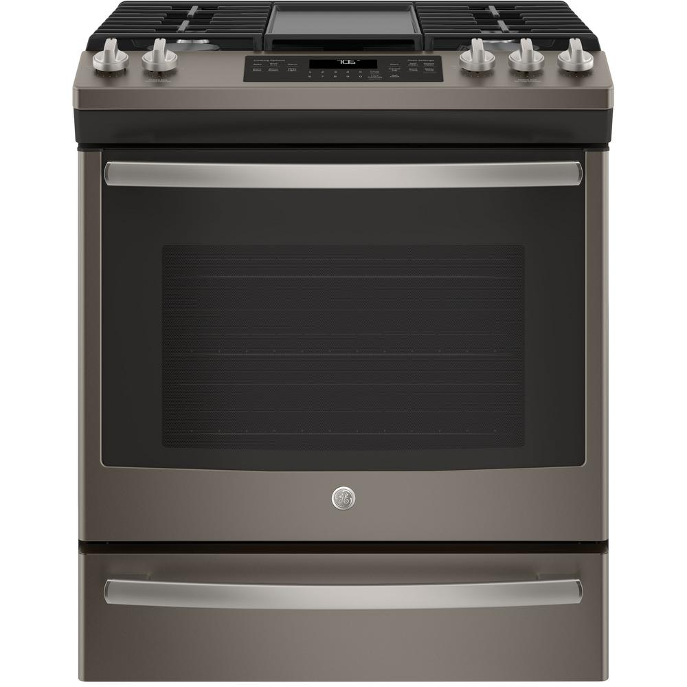 GE 5.6 cu. ft. Slide-In Gas Range with Self-Cleaning Convection Oven in Slate, Fingerprint Resistant, Fingerprint Resistant Slate