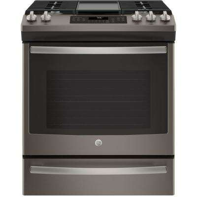 5.6 cu. ft. Slide-In Gas Range with Self-Cleaning Convection Oven in Slate, Fingerprint Resistant