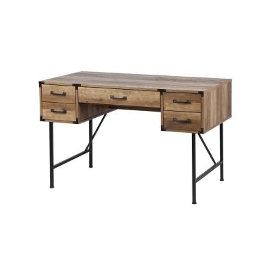 47 in. Rectangular Walnut 5 Drawer Writing Desk with Built-In Storage