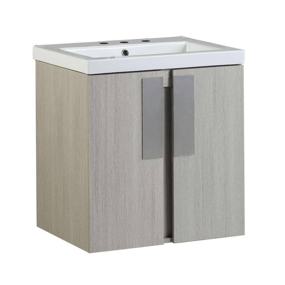 Carmel 24 in. W x 19 in. D x 26 in. H Single Vanity in Gray Pine with Ceramic Vanity Top in White with White Basin