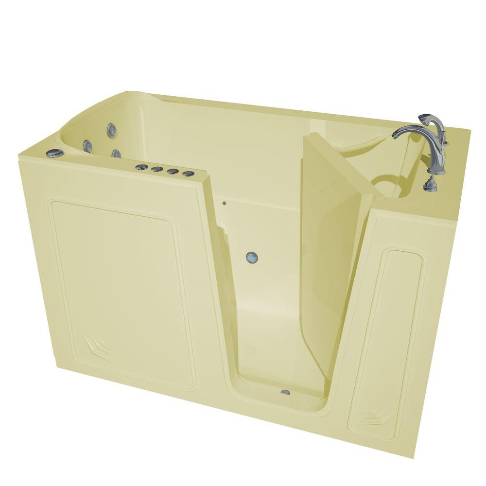 Universal Tubs Nova Heated 5 ft. Walk-In Air and Whirlpool Jetted Tub in Biscuit with Chrome Trim