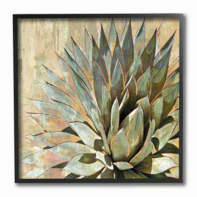 "12 in. x 12 in. ""Green Painted Botanical Succulent Agave Leaves"" by Artist Lindsay Benson Framed Wall Art"
