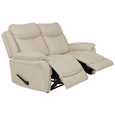 Off-White Almond Tuff Stuff Fabric 2-Seat Wall Hugger Recliner Loveseat