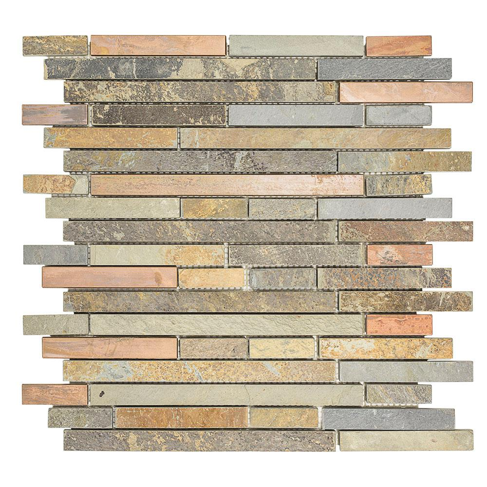 Jeffrey Court Satin Copper 11.5 in. x 12 in. x 8 mm Copper/Slate Mosaic Wall Tile