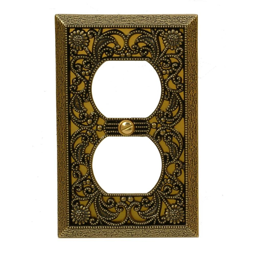 Filigree 1 Duplex Wall Plate - Antique Brass