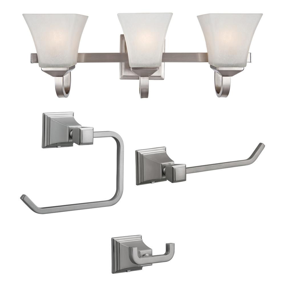 Design House Torino 3-Light Satin Nickel Vanity Light with Torino 3-Piece Satin Nickel Bathroom Accessory Kit