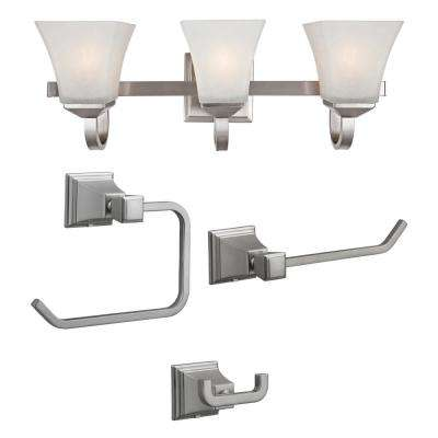 Torino 3-Light Satin Nickel Vanity Light with Torino 3-Piece Satin Nickel Bathroom Accessory Kit