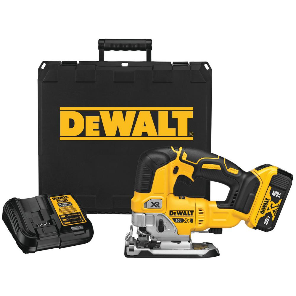 DEWALT 20-Volt MAX Lithium-Ion Brushless Cordless Jigsaw Kit with 5 Ah Battery Charger and Kit Box