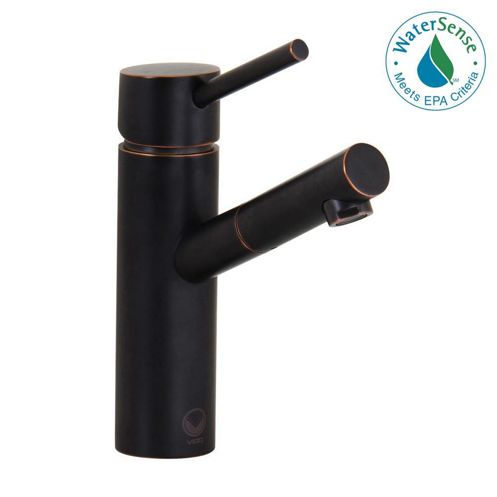 VIGO Shadow Single Hole 1-Handle Vessel Bathroom Faucet in Antique ...
