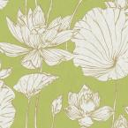 Seabrook Designs Lotus Metallic Gold and Lime Green Floral Wallpaper