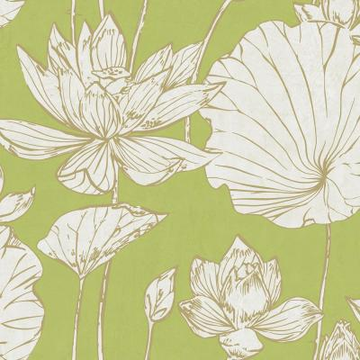 Lotus Metallic Gold and Lime Green Floral Wallpaper