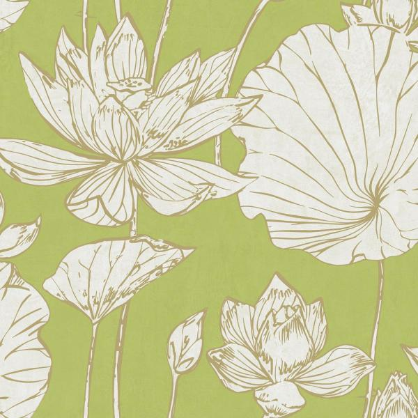 Seabrook Designs Lotus Metallic Gold And Lime Green Floral