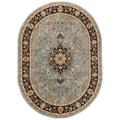 Barclay Medallion Kashan Light Blue 5 ft. 3 in. x 6 ft. 10 in. Oval Traditional Area Rug