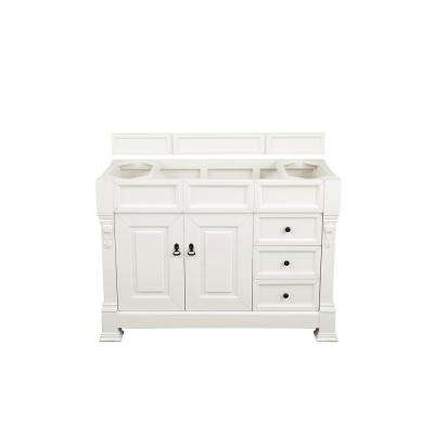 Brookfield 48 in. W x 38 in. H Single Bath Vanity in Cottage White with 3 cm Carrara Marble Vanity Top with White Basin