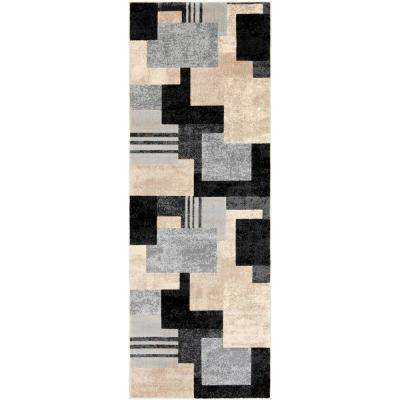 Astvin Black 2 ft. 7 in. x 7 ft. 3 in. Geometric Runner Rug