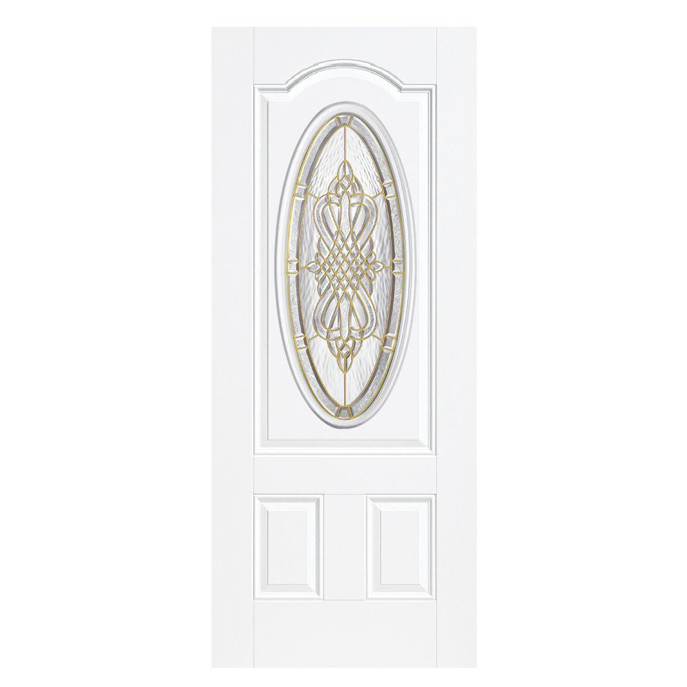 Masonite 36 in. x 80 in. New Haven 3/4 Oval-Lite Right-Hand Outswing Primed Steel Prehung Front Door