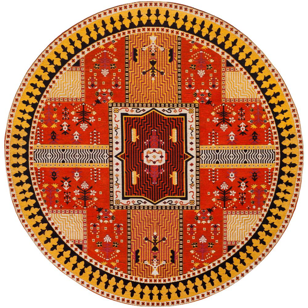 Classic Vintage Orange/Gold 6 ft. x 6 ft. Round Area Rug