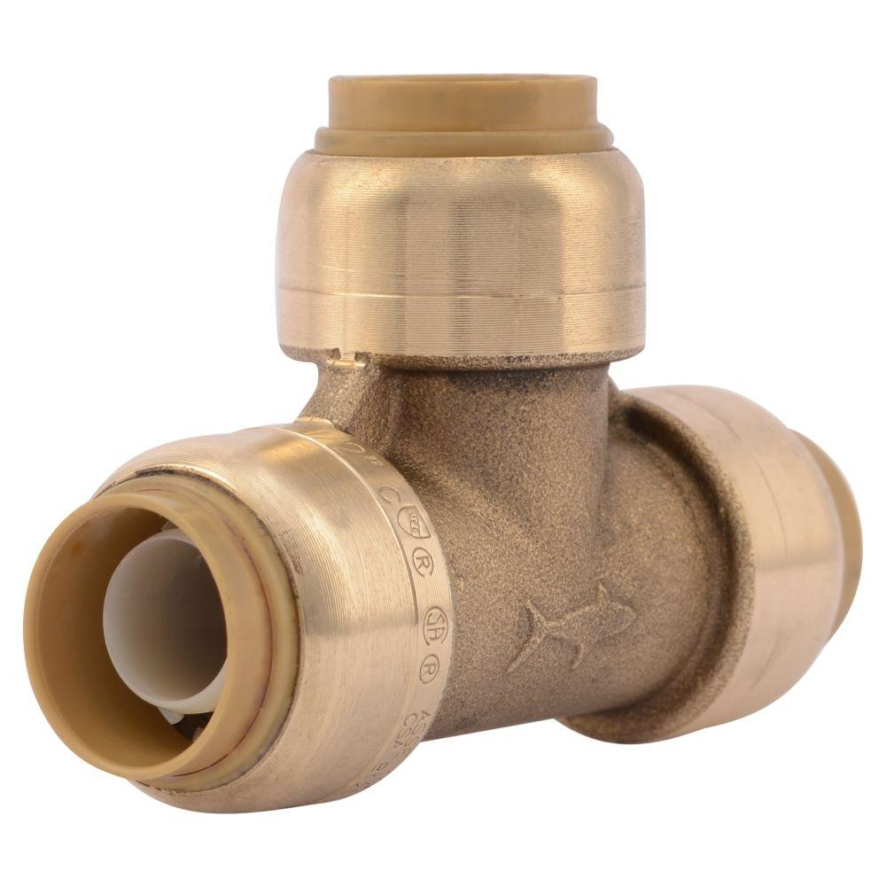 Sharkbite 1 2 in brass push to connect tee u362lfa the for What pipes to use for plumbing