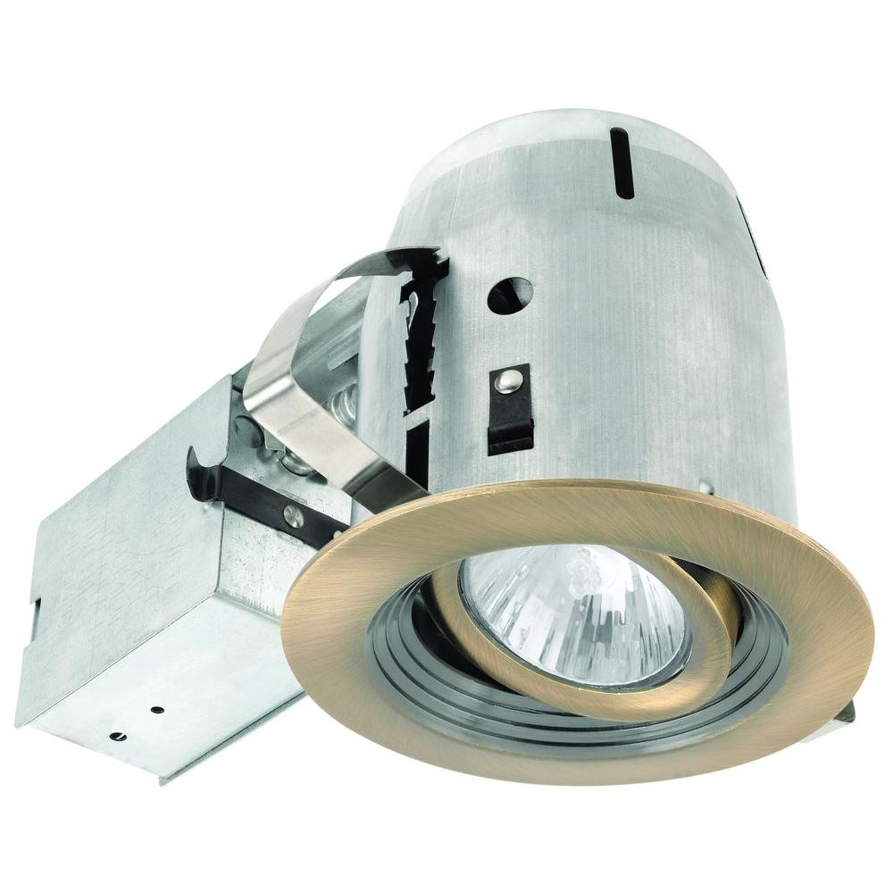 Globe Electric 4 in. Antique Brass Swivel Recessed Lighting Kit with Grooved Baffle