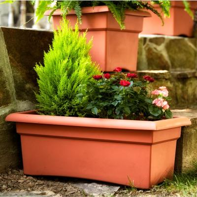 Veranda 26 in. Terra Cotta Plastic Window Deck Box Planter