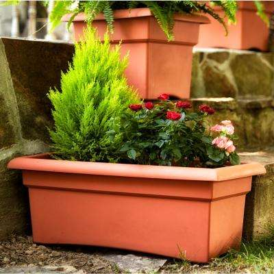 26 x 10 Terra Cotta Veranda Plastic Window Deck Box Planter