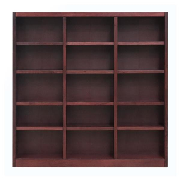 72 in. Cherry Wood 15-shelf Standard Bookcase with Adjustable Shelves