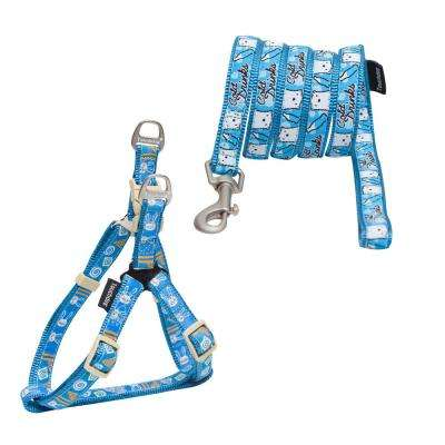 Large Blue Caliber Designer Embroidered Fashion Pet Dog Leash and Harness Combination