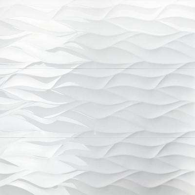 Ripple White Wavy 12 in. x 36 in. 10mm Polished Ceramic Wall Tile (5-Piece/14.5 sq. ft. /Box)