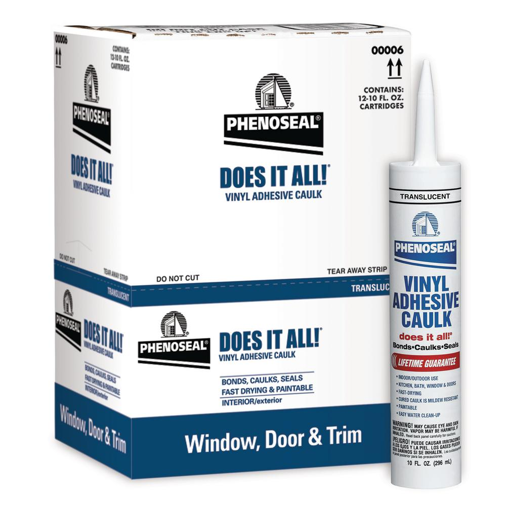 Phenoseal 10 Oz Clear Vinyl Adhesive Caulk 00016 The Home Depot