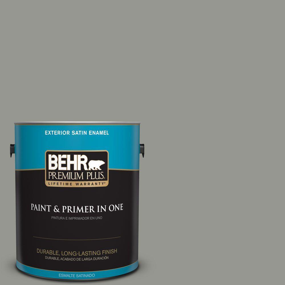 BEHR Premium Plus 1-gal. #ECC-36-1 Shady Willow Satin Enamel Exterior Paint