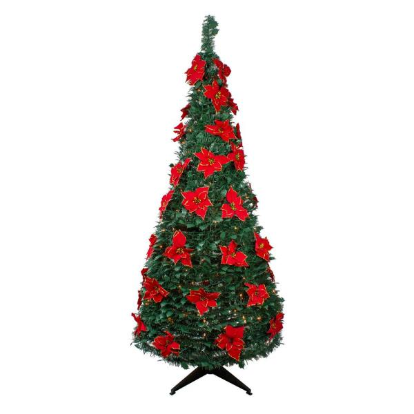 6 ft. Pre-Lit Green Poinsettia Pop-Up Artificial Christmas Tree with Clear Lights Slim