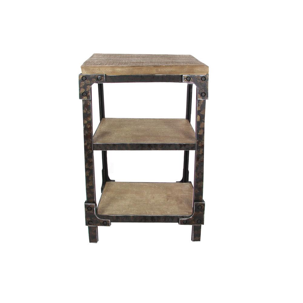 Distressed Brown 3-Tier Side Table with Black Iron Frame