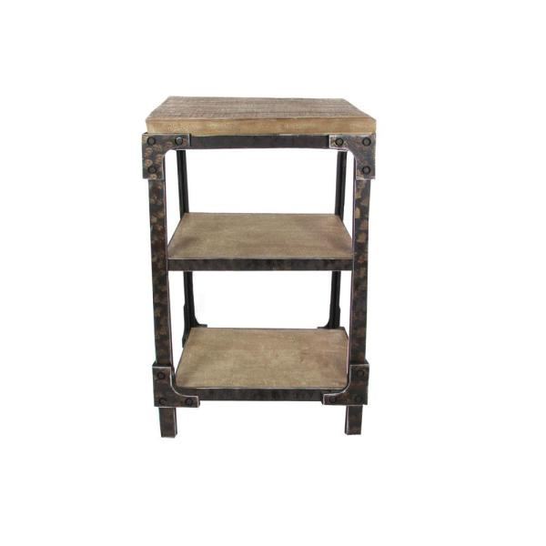 Charmant Litton Lane Distressed Brown 3 Tier Side Table With Black Iron Frame