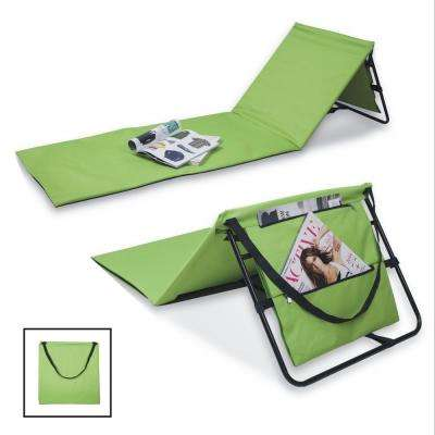 Portable Green Beach Lounge Chairs with Pockets and Carry Straps (Set of 2)