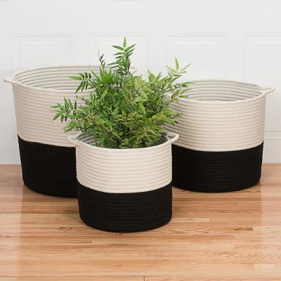 Craftworks 16 in. x 16 in. x 16 in. Black Round Polypropylene Braided Basket