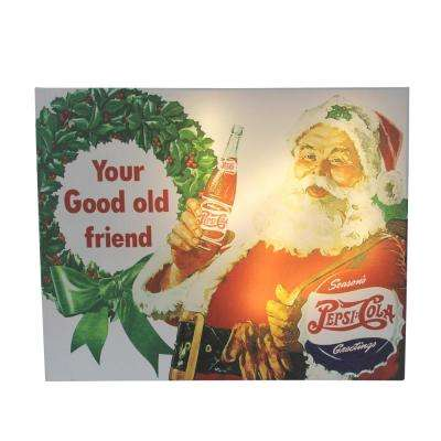 15.75 in. LED Back Lit Santa Claus and Sleigh Pepsi Christmas Wall Art