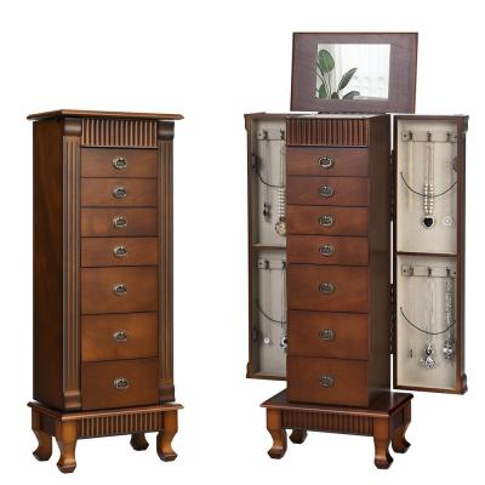 Jewelry Cabinet Armoire Jewelry Box Storage Chest Stand Organizer Wood Christmas Gift