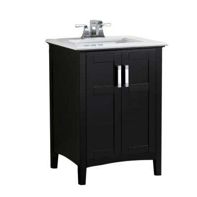 Winston 24 in. Bath Vanity in Black with Quartz Marble Vanity Top in Bombay White with White Basin