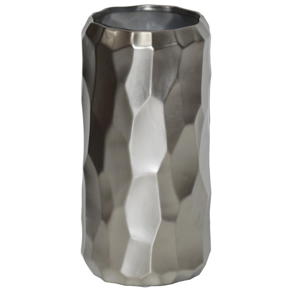 Silver Matte Ceramic Decorative Vase