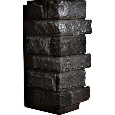 1-1/2 in. x 12-1/2 in. x 25 in. Graphite Urethane Cut Coarse Random Rock Outer Corner Wall Panel
