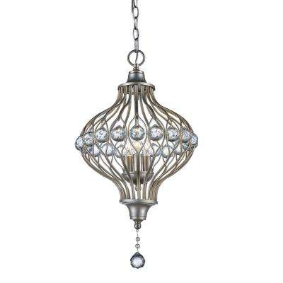 Alcira 3-Light Antique Silver Leaf Pendant