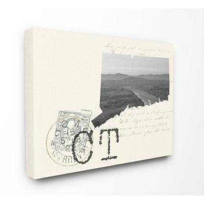 """30 in. x 40 in. """"Connecticut Black and White Photograph on Cream Paper Postcard"""" by Daphne Polselli Canvas Wall Art"""