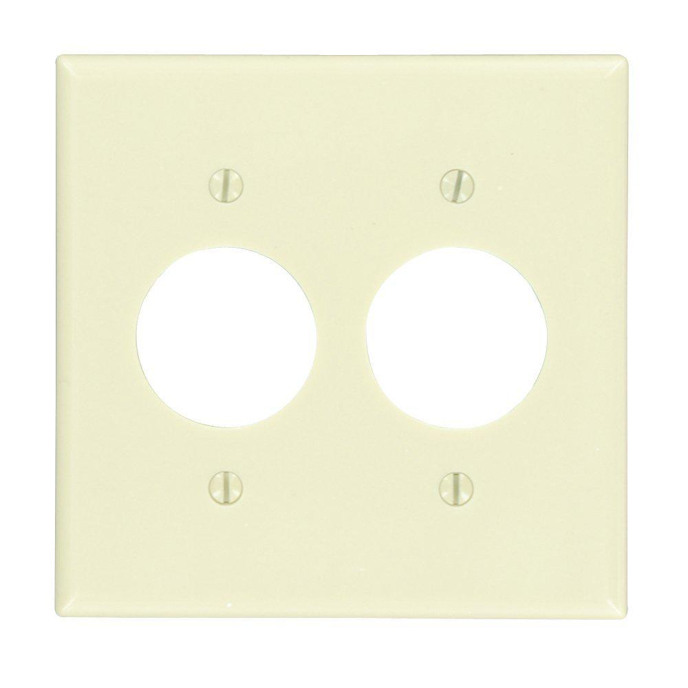 2gang 2 single receptacles standard size plastic wall plate ivory