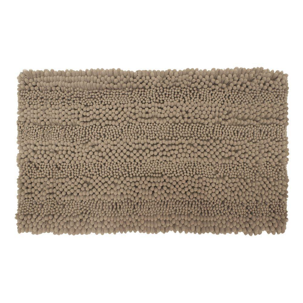 Astor Striped Chenille Linen 20 in. x 34 in. Plush Bath Mat