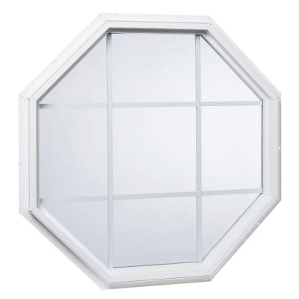 35.5 in. x 35.5 in. 25000 Series Geometric Vinyl Window with Grid White